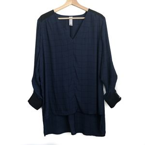 Pure Energy 1X V-Neck Longsleeve Blouse Black Blue